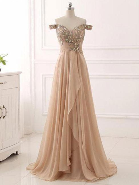 Anneprom Chic A-line Prom Dresses Long Off-the-shoulder Prom Dress Evening Dresses With Beading APP0336
