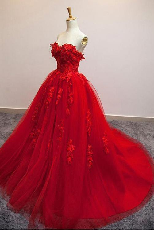 Anneprom Charming Red Sweetheart Strapless Ball Gown Applique Tulle Long Prom Dress APP0341