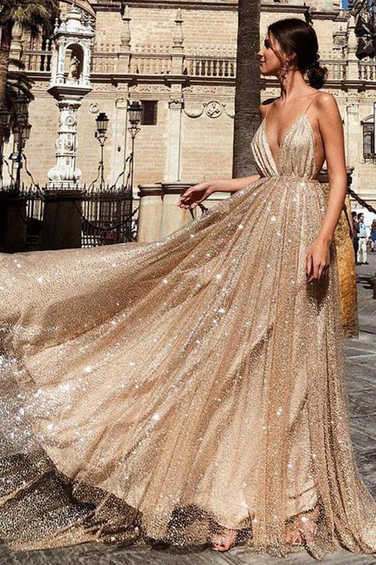 Anneprom Charming A Line V Neck Spaghetti Straps Sequin Long Prom Dress APP0348