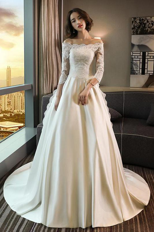 Anneprom Modest 3/4 Sleeve Off the Shoulder A Line Lace Wedding Dress APW0250