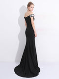 Anneprom Chic Mermaid Prom Dress Black Off Shoulder Flower Long Prom Dress Party Dress APP0355