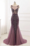Anneprom Beading Scoop Mermaid Sweep Train Tulle Long Cheap Prom Dress APP0359