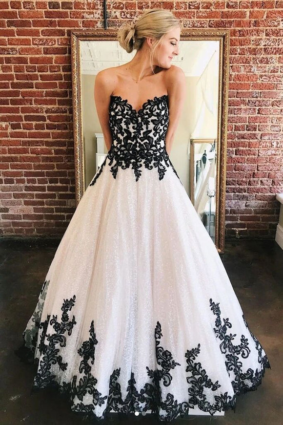 Anneprom A Line Sweetheart Long Elegant Prom Dress With Black Lace Appliques APP0367