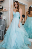 Anneprom Light Blue Backless Prom Gown Spaghetti-straps Tulle Tiered Dance Dress APP0368