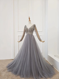 Anneprom A Line Long Sleeves V Neck Grey Beading Prom Dresses APP0370