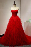 Anneprom Chic Sweetheart A Line Zipper Back Red Ruffles Cheap Long Prom Dress APP0373