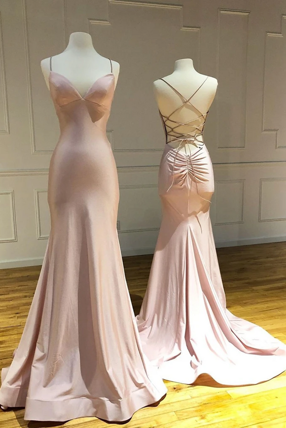Anneprom Trumpet/Mermaid Spaghetti Straps Pink Long Prom Dresses Sexy Evening Dress APP0378