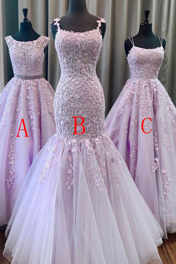 Anneprom Trumpet/Mermaid Spaghetti Straps Lilac Long Prom Dresses Tulle Evening Dress APP0379