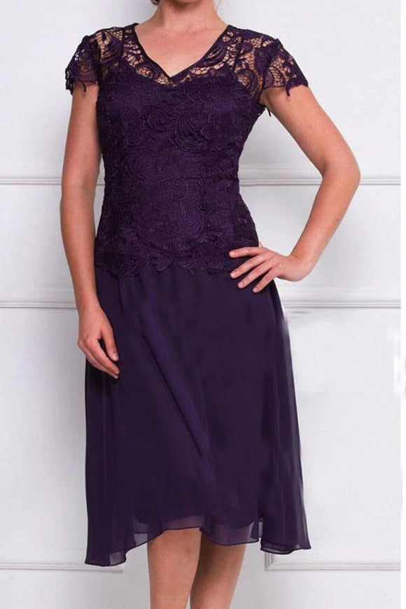 Anneprom Cap Sleeves lace Knee-Length Mother Of The Bride Dress Wedding Formal Evening Dress APP0385