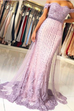 Anneprom Off-the-Shoulder Beading Prom Dresses Lilac Unique Long Evening Dress Prom Dress APP0392