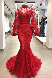 Anneprom Mermaid High Neck Red Prom Dresses Beading Long Prom Dress Evening Dress APP0395