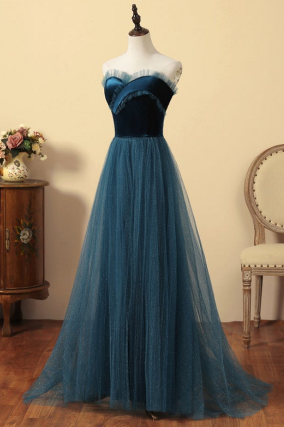 Anneprom Elegant Tulle and Velvet Tea Long Formal Dress, A-line Party Dress Evening Dress APP0406