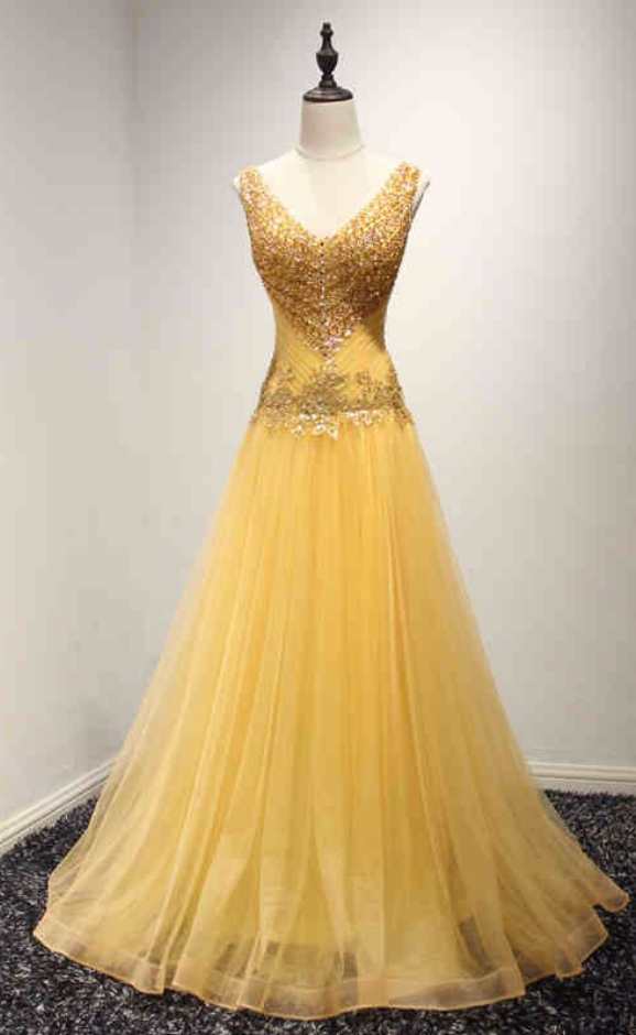 Anneprom Real Picture Yellow Long Evening Party Dresses Beading Lace Up Black Girl African Prom Formal Gowns APP0407