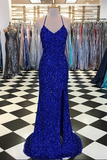 Anneprom Sparkly Prom Dresses with Slit Sheath Short Train Long Royal Blue Prom Dress APP0413