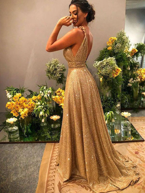 Anneprom Chic A-line Gold Sparkly V neck Long Prom Dresses Evening Dress APP0429