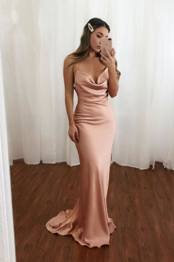Anneprom Spaghetti Straps Sweetheart Mermaid Satin Pink Long Prom Dress APP0433