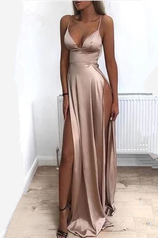 Anneprom Spaghetti Straps Modest Sexy Prom Dresses with Side Split APP0435