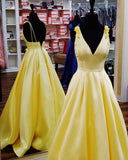 Anneprom Elegant Yellow Satin Long Prom Dress APP0440