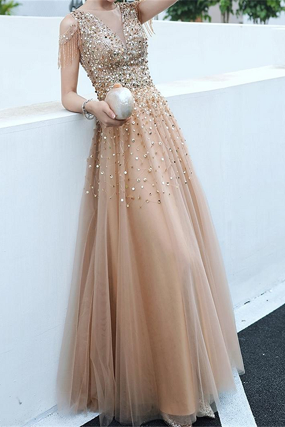 Anneprom A line Evening Dress,Beading Party Dress,Formal Evening Gown Women Girls APP0445
