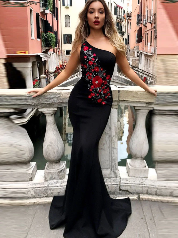 Anneprom Chic Trumpet/Mermaid One Shoulder Long Prom Dresses Embroidery Evening Dress APP0448