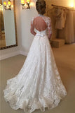Anneprom Elegant Lace A-Line Long Sleeve High Neck Wedding Dresses APW0039