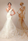 Anneprom Mermaid V-Neck Lace-Up Appliques Court Train Wedding Dress APW0049