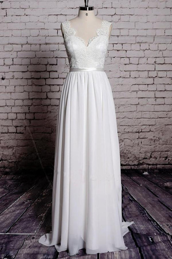 Anneprom A-Line Lace V-Neck Backless Sheath Long Wedding Dress APW0059