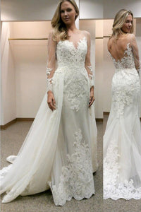 Anneprom Long Sleeves Sheath Wedding Dress With Lace Detachable Train APW0062