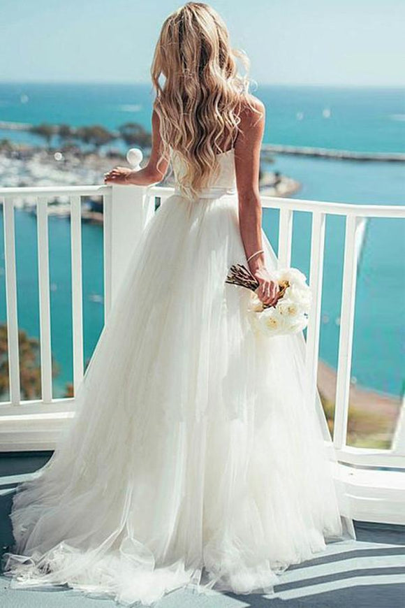 Anneprom Ivory Tulle Destination Sweetheart Spaghetti Strap Wedding Dress APW0066