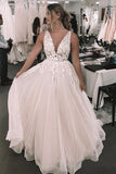 Anneprom Romantic Deep V Neckline Foral Appliqued Bridal Gown Wedding Dress APW0067