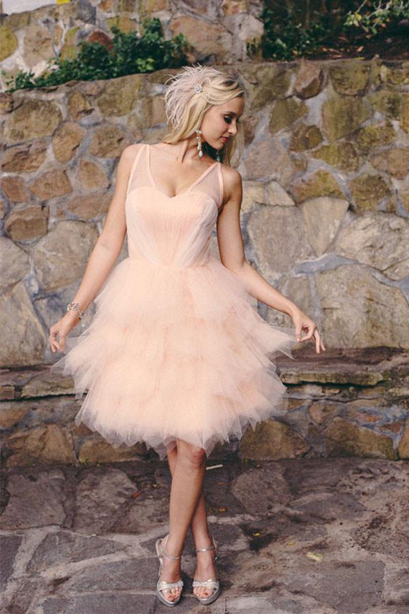 Anneprom Knee Length Blush Colored Layered Organza Short Wedding Dresses APW0090