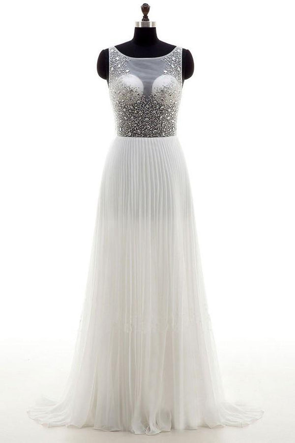Anneprom A-Line Wedding Dress Bateau Chiffon Sweep Train Backless Beading APW0080