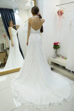 Anneprom Sheath Halter Backless Sweep Train Wedding Dress With Beading APW0085