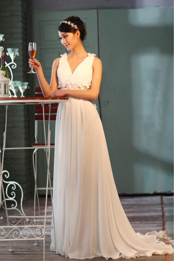 Anneprom Sheer Back A-Line V-Neck Floor-Length Chiffon Wedding Dress APW0092