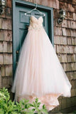 Anneprom Sweetheart Strapless Flowers Beading Wedding Dress With Court Train APW0099