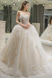 Anneprom Sweetheart Appliques Bowknot A-Line Floor-Length Wedding Dress APW0104