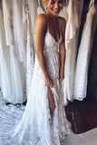 Anneprom A-Line Straps Backless Court Train Lace Beach Wedding Dress APW0109