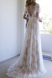 Anneprom Romantic A-Line White Lace Long Wedding Dress With Open Back APW0112