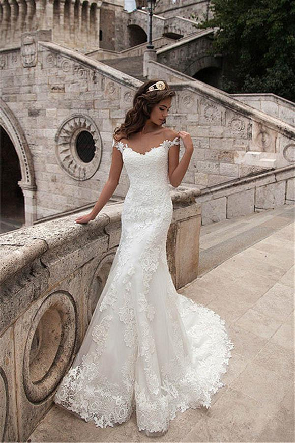 Anneprom Illusion Neckline Lace Mermaid Long Wedding Dresses APW0129