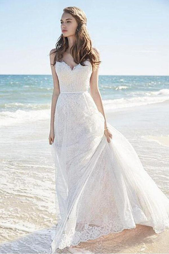 Anneprom Chic Lace Beach Spaghetti Straps Long Wedding Dresses APW0130