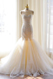 Anneprom Tulle Mermaid Gorgeous Lace-Appliques Sweetheart Wedding Dress APW0132