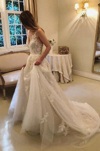 Anneprom A-Line Vintage Rustic Wedding Dresses V Neck Beaded Lace Bridal Gown APW0160