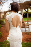 Anneprom Vintage Quee Keyhole Winter Long Lace Mermaid Wedding Dress APW0172