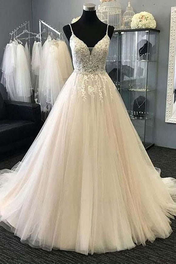 Anneprom A-Line Straps Ivory Tulle Wedding Dress With Appliques Beading APW0178