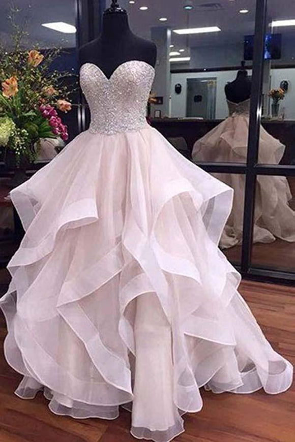 Anneprom  A-Line Sweetheart Floor-Length Organza Wedding Dress With Beading APW0180