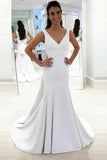 Anneprom Mermaid Deep V-Neck Sweep Trian White Satin Backless Wedding Dress APW0183