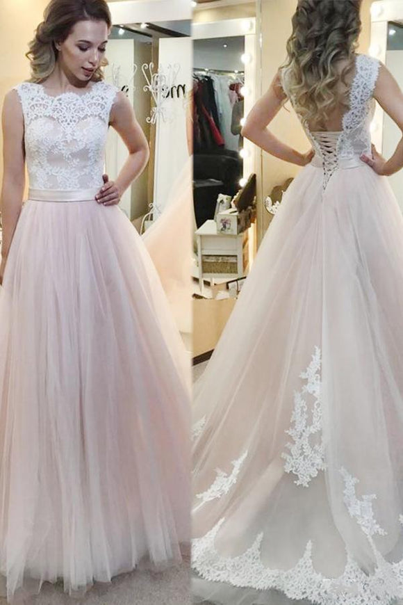 Anneprom A-Line Tulle Sweep Train Wedding Dress With Lace Applique APW0187