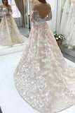 Anneprom A-Line Illusion Bateau Long Sleeves Backless Ivory Lace Wedding Dress APW0199