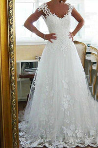 Anneprom Tulle Scoop Neckline A-Line Wedding Dresses With Lace Appliques APW0201