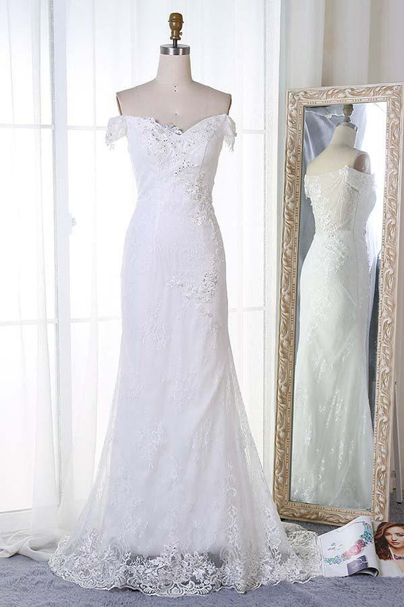 Anneprom Mermaid Off-The-Shoulder Sweep Train White Lace Wedding Dress With Appliques APW0202